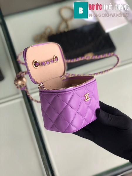 Túi xách Chanel Small vanity bag wich strap siêu cấp màu tím size 11 cm - AP1147y