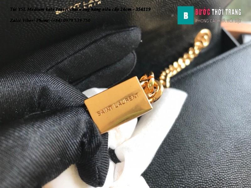 Túi YSL Medium kate tassel chain màu đen tag vàng size 24cm - 354119