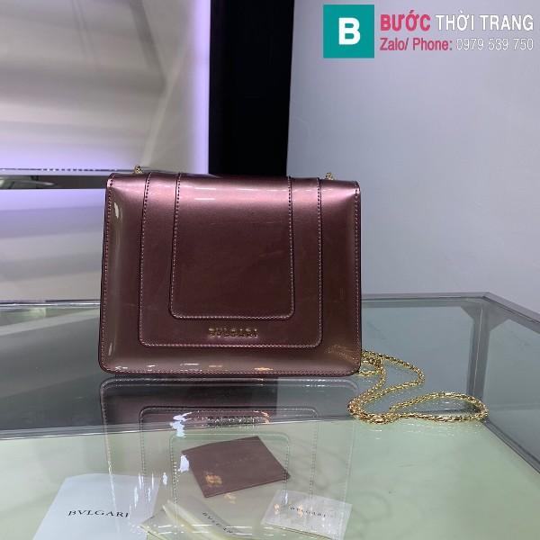 Túi xách Bvlgari serventi forever siêu cấp da bóng màu hồng size 20 cm