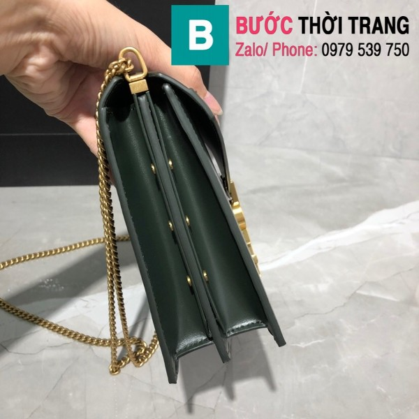 Túi xách YSLSaint Laurent Casandra bag siêu cấp màu xanh size 22cm - 532750