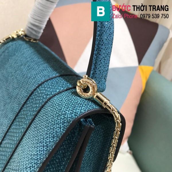 Túi xách Bvlgari serventi forever siêu cấp da rắn màu xanh size 18 cm