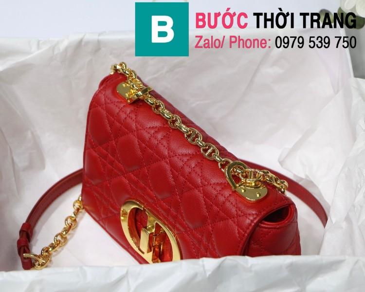 Túi xách Dior Caro siêu cấp da bò mềm màu đỏ size 20cm - M8016