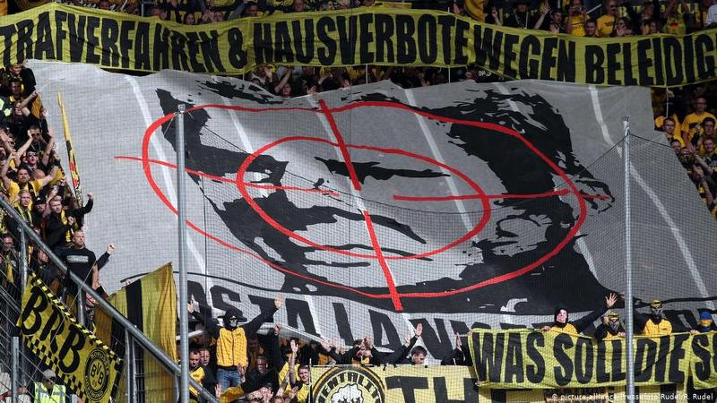 """""""Hasta la vista, Hopp!"""" In the Bundesliga match between TSG 1899 Hoffenheim and Borussia Dortmund on May 14 2019, a large banner was unfurled in the away end"""