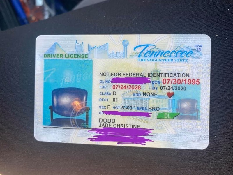 Jade Christine Dodd's driver's license with a picture of an empty chair, Centerville, Hickman County, Tennessee
