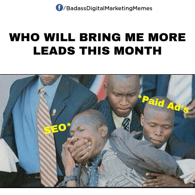 digital marketing meme on seo paid ads