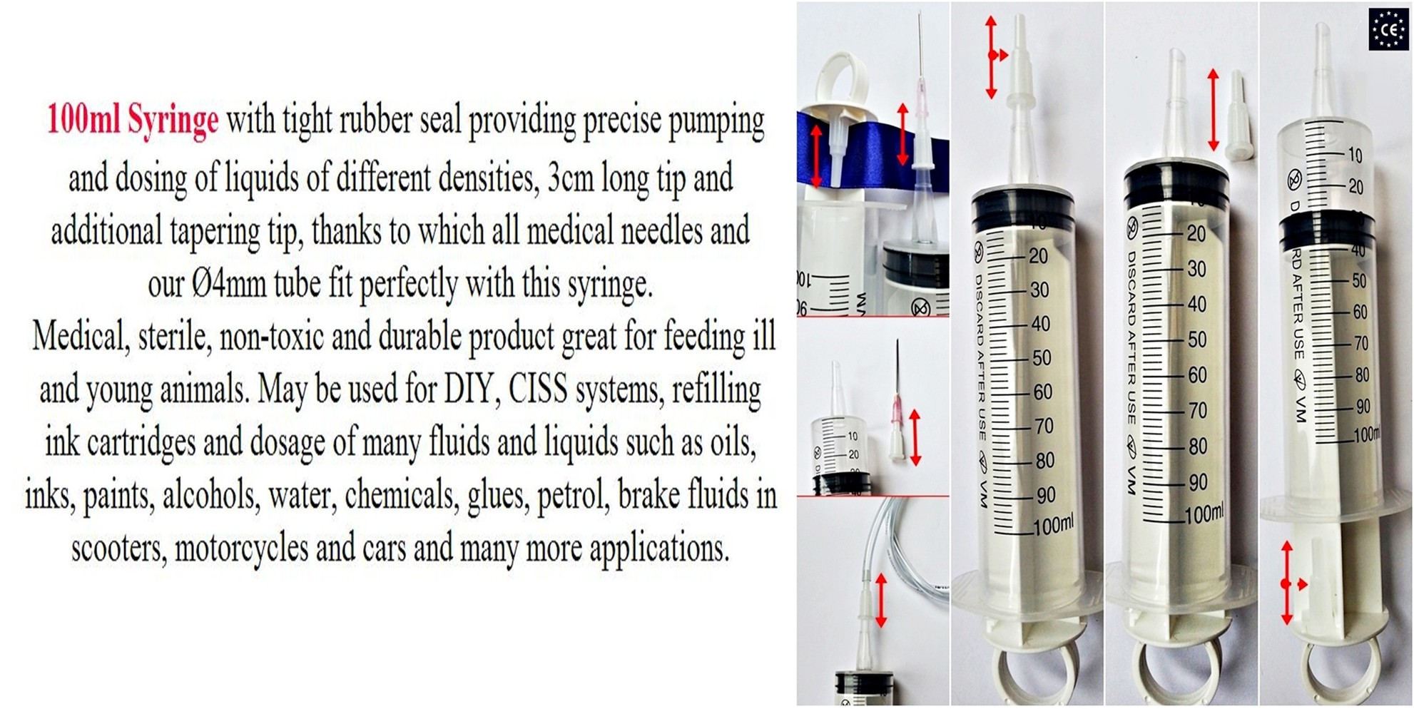 Large Medical Syringe Hypodermic 100ml 90cm Tube Ink