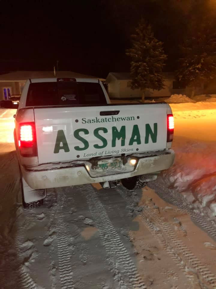 David Assman License Plate Melville, Saskatchewan, Canada
