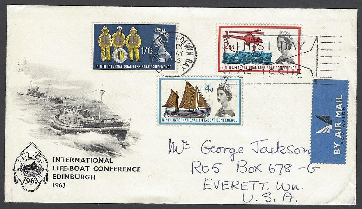Gb 1963 International Life Boat Conference Edinburgh Fdc To Usa Scarce Cachet Ebay
