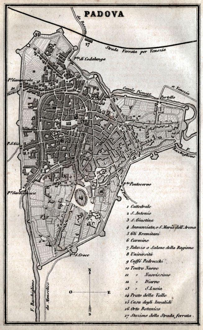 Pianta di Padova 1871 Passepartout Carta Topografica Artaria Stampa Antica