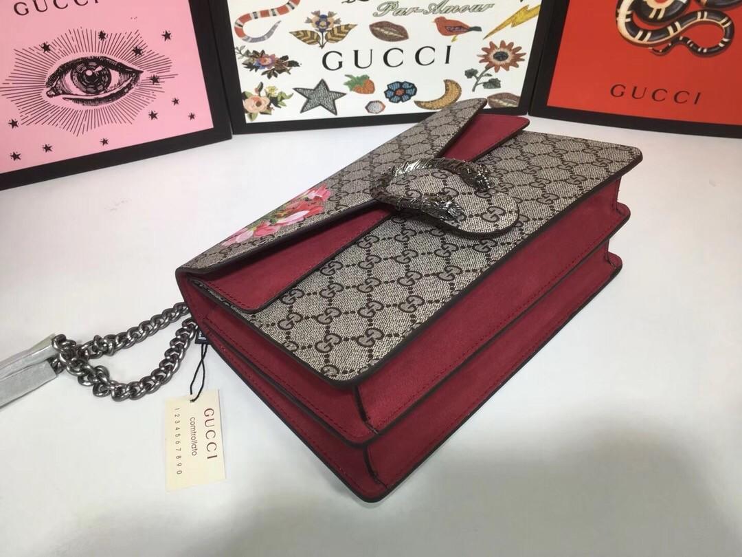 Túi Xách Gucci Dionysus màu đỏ đô có bông hoa size 28cm