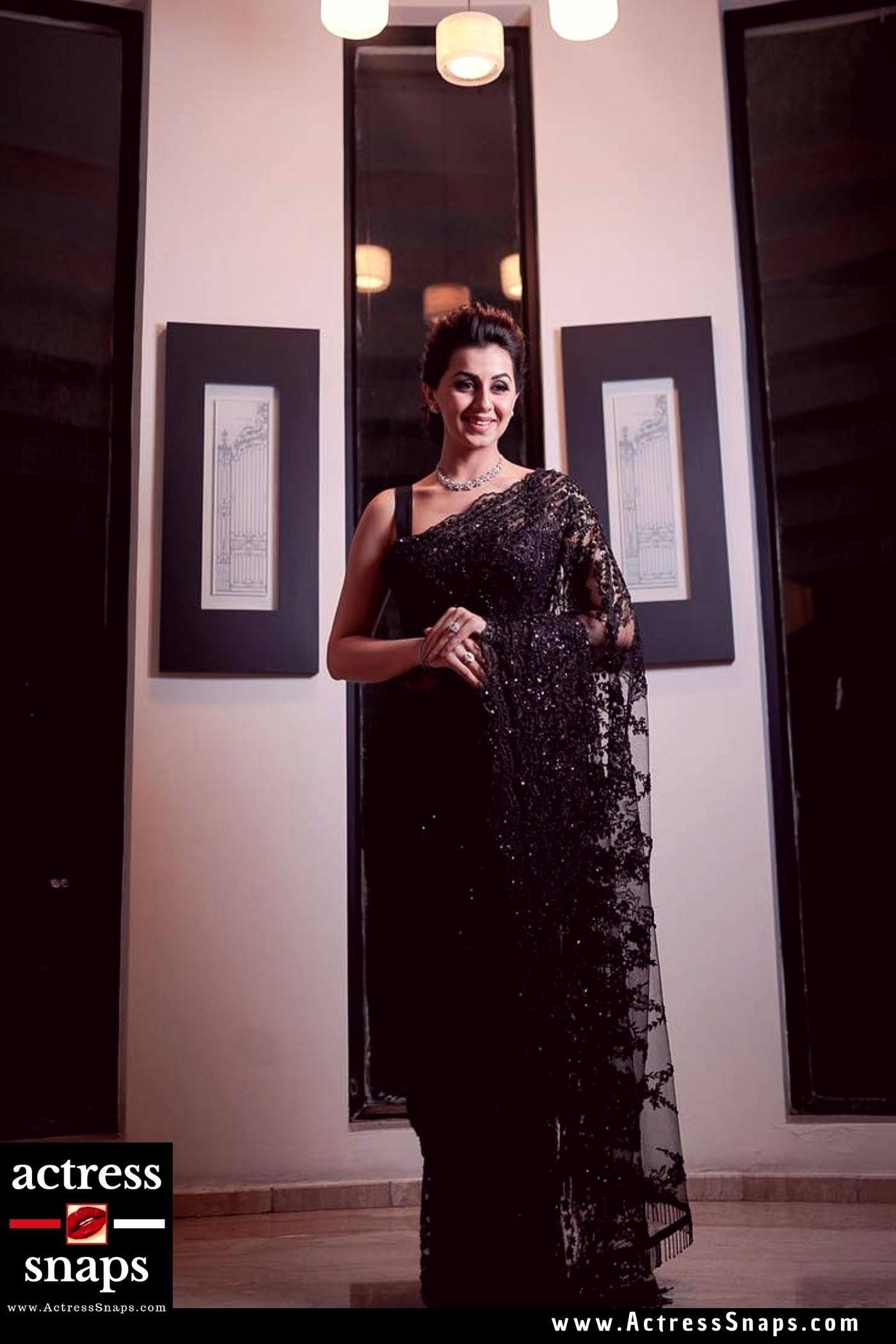 Beautiful Nikki Galrani in Black Saree - Sexy Actress Pictures   Hot Actress Pictures - ActressSnaps.com