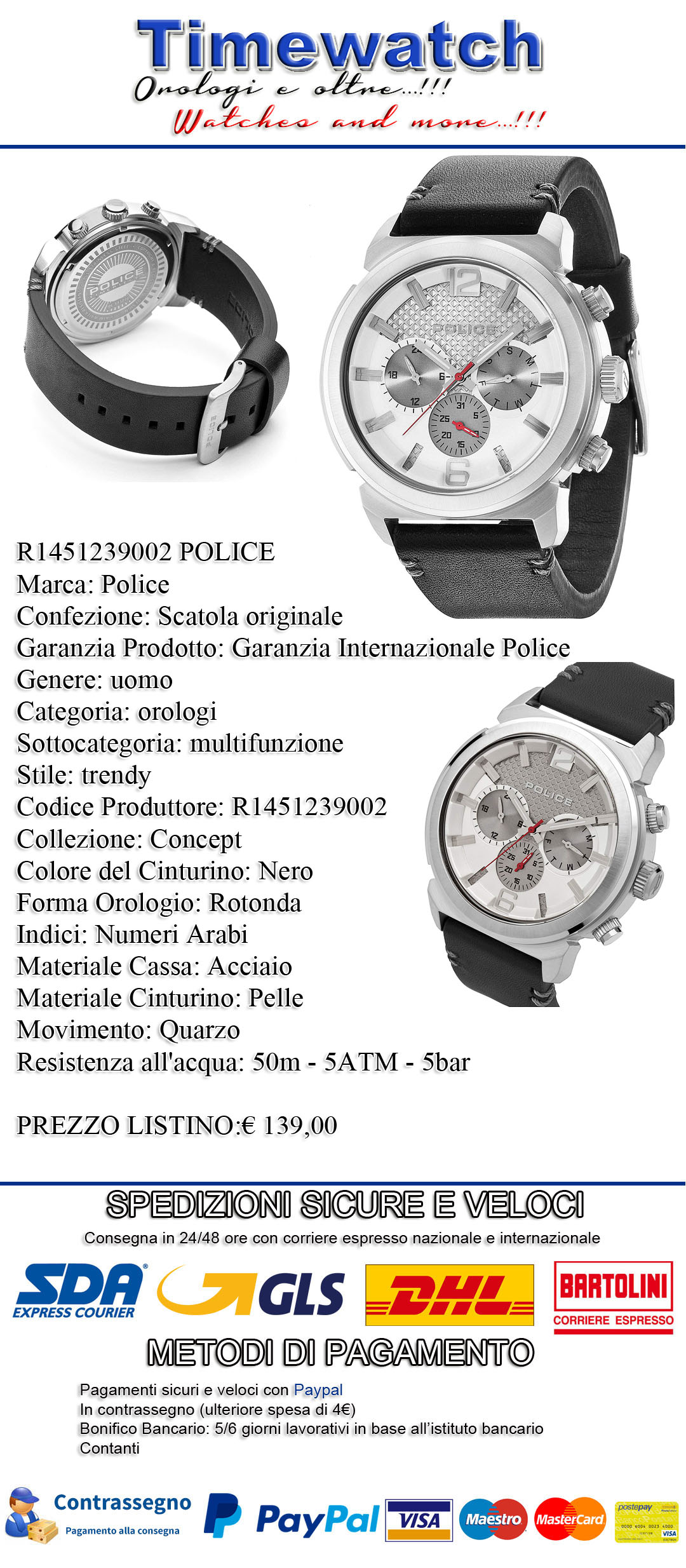 R1451239002 Masculine Chronographe Noir Cuir En Police Montre Mode UpzqSVMG