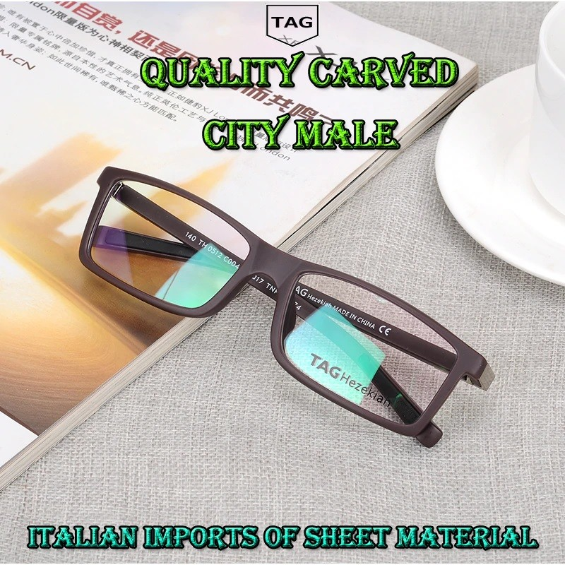 117cbac13 TagHezekiah* 0512 Armação de Óculos Masculino Retangular Italiano ...