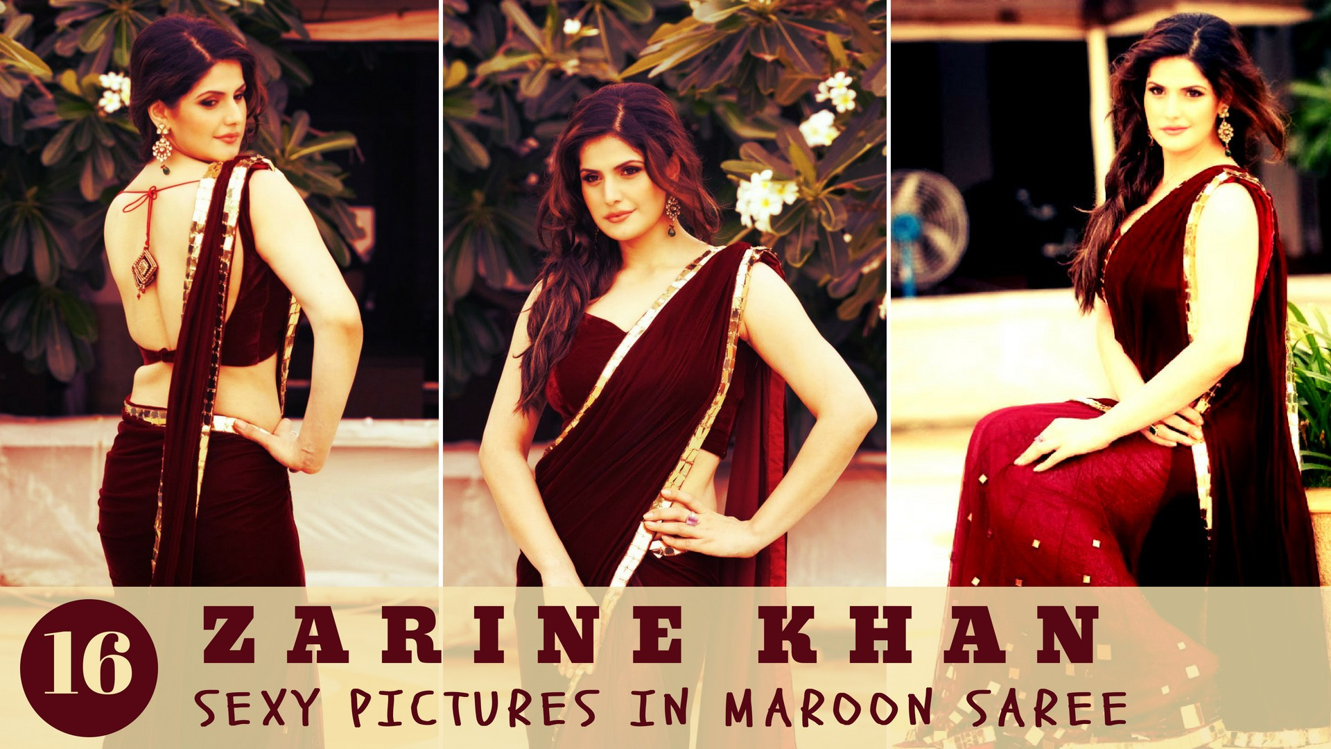 Sexy Zarine Khan Pictures in Maroon Saree - Sexy Actress Pictures | Hot Actress Pictures - ActressSnaps.com
