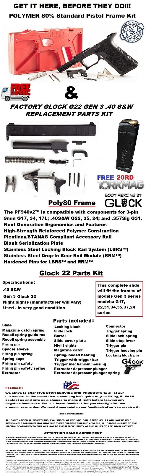 POLYMER80 GLOCK 22 COMPLETE KIT W/ FREE - Glock Parts at