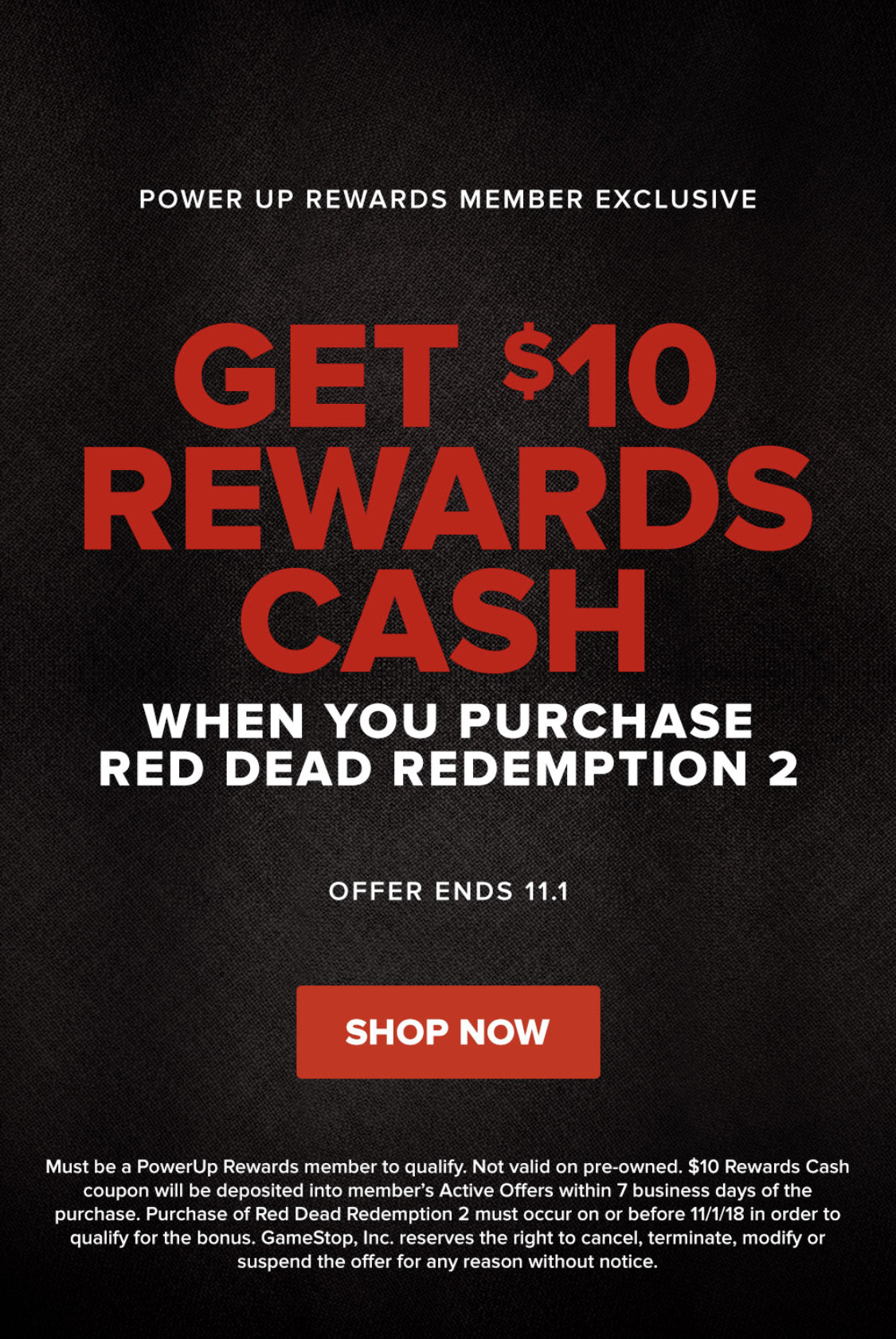 GameStop $10 Rewards Cash with purchase of Red Dead