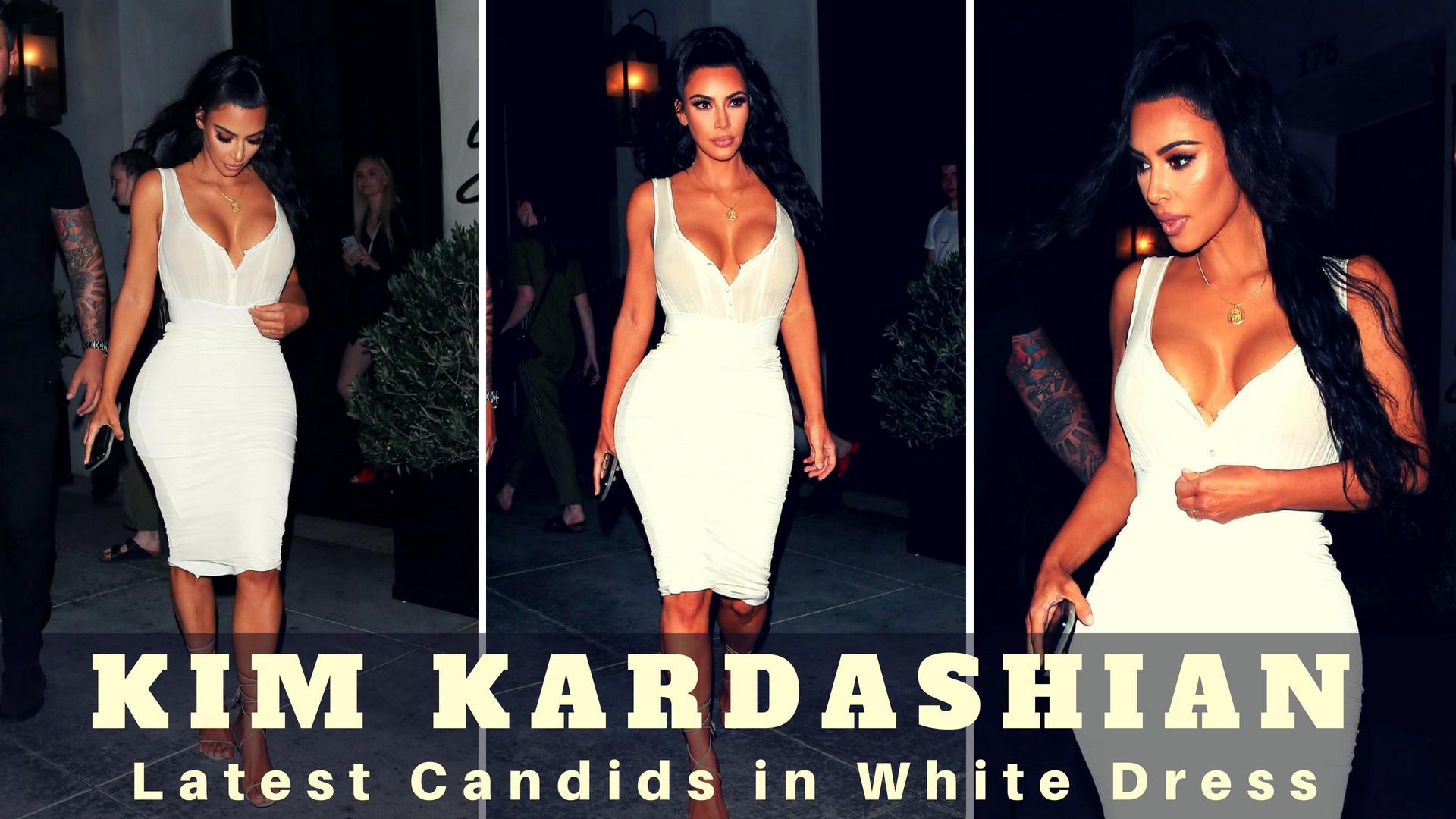 Latest Kim Kardashian Candids in White Dress - Sexy Actress Pictures | Hot Actress Pictures - ActressSnaps.com