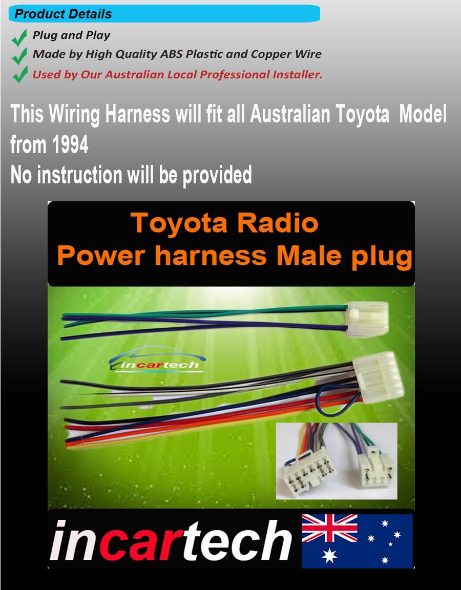Toyota Wiring Harness Oem Factory Radio Male Plug Lead Loom All Year Wire Can Be Used To Repair A Where The Plugs Have Been Cut Off Or Damaged