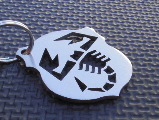 Metal Key chain Ring Fob Fiat 500 Spider 124 x1//9 Abarth 850 124 Spider Chrome