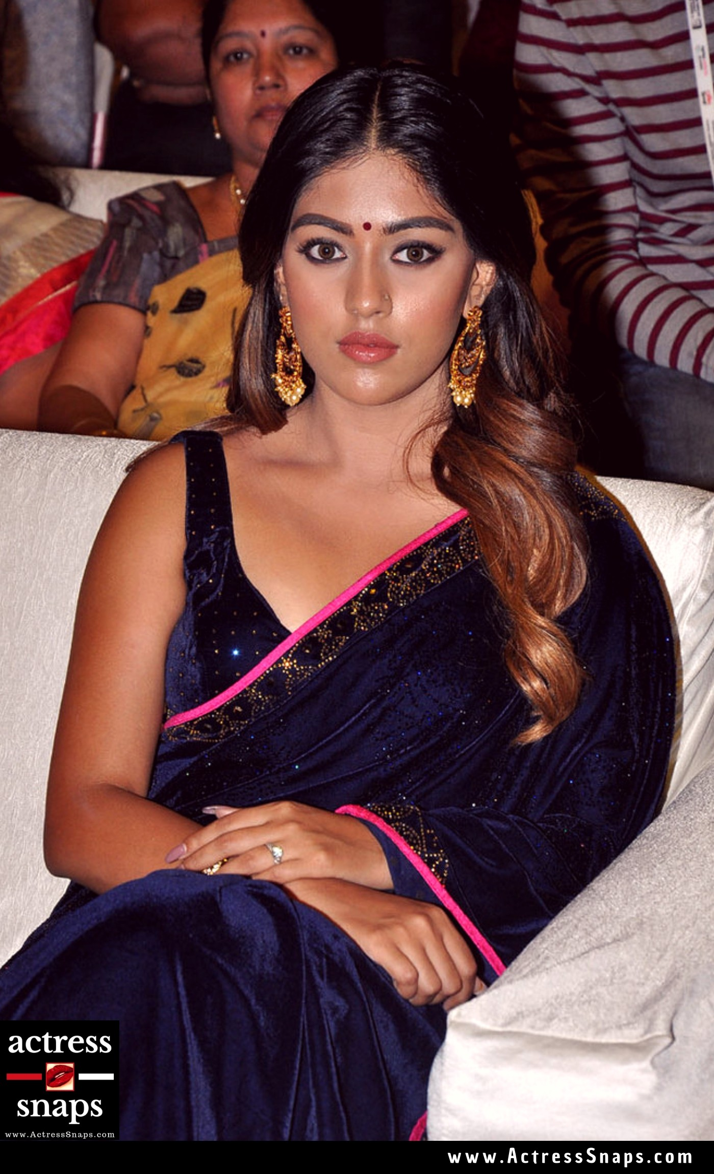 Sexy Anu Emmanuel in Dark Blue Saree Photos - Sexy Actress Pictures | Hot Actress Pictures - ActressSnaps.com