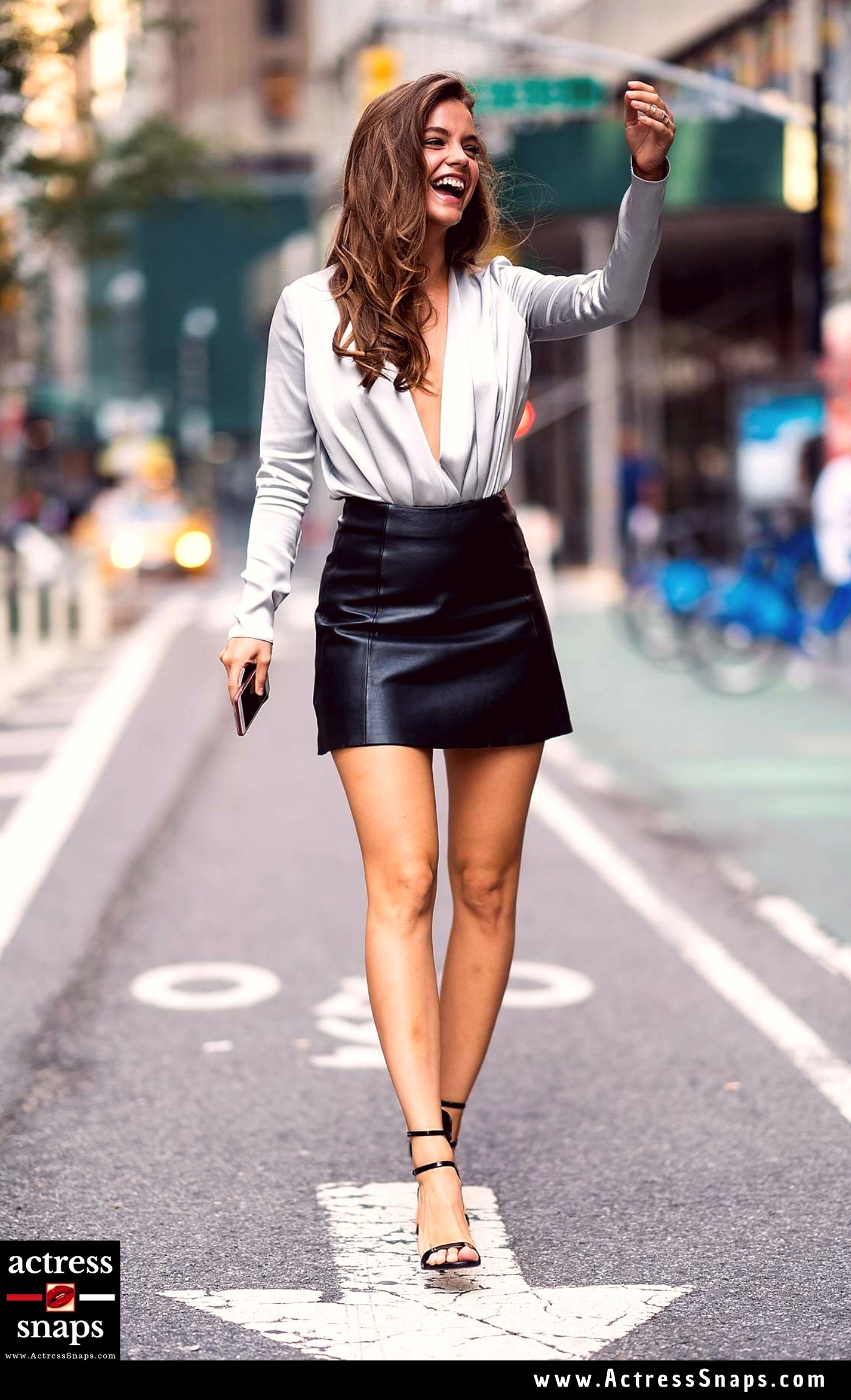 Sexy Barbara Palvin in Sexy Leather Mini Skirt - Sexy Actress Pictures | Hot Actress Pictures - ActressSnaps.com