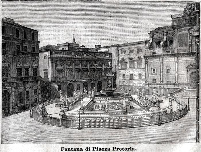 Trento: Fontana in piazza del Duomo Trentino Stampa Antica Passepartout.1903