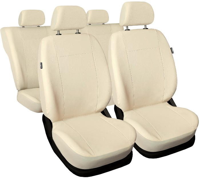 SKODA FABIA VRS Front PAIR of Beige//Black LEATHER LOOK Car Seat Covers