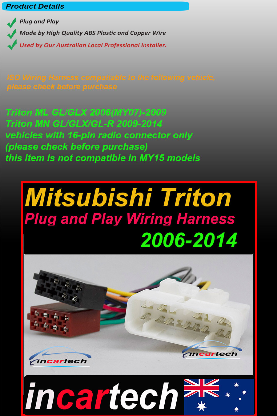 Triton Wiring Harness Library Adapter Mitsubishi 16 Pin Iso Adaptor Cable Connector