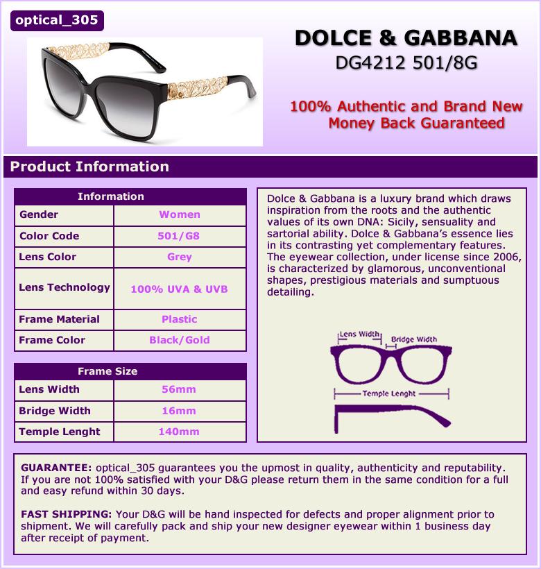4bae59993f5 DOLCE   GABBANA Sunglasses DG4212 501 8G Black Gold Grey