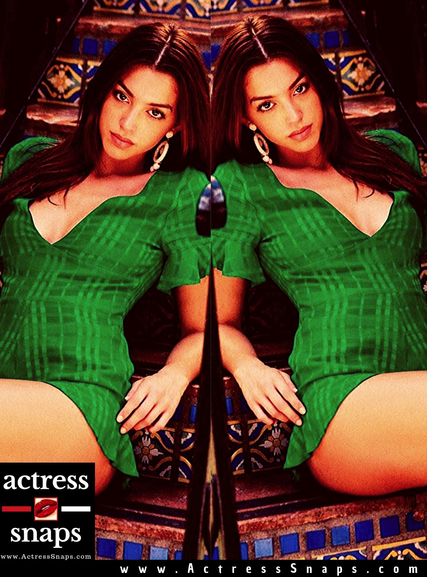 Celine Farch - Green Dress Photoshoot - Sexy Actress Pictures | Hot Actress Pictures - ActressSnaps.com