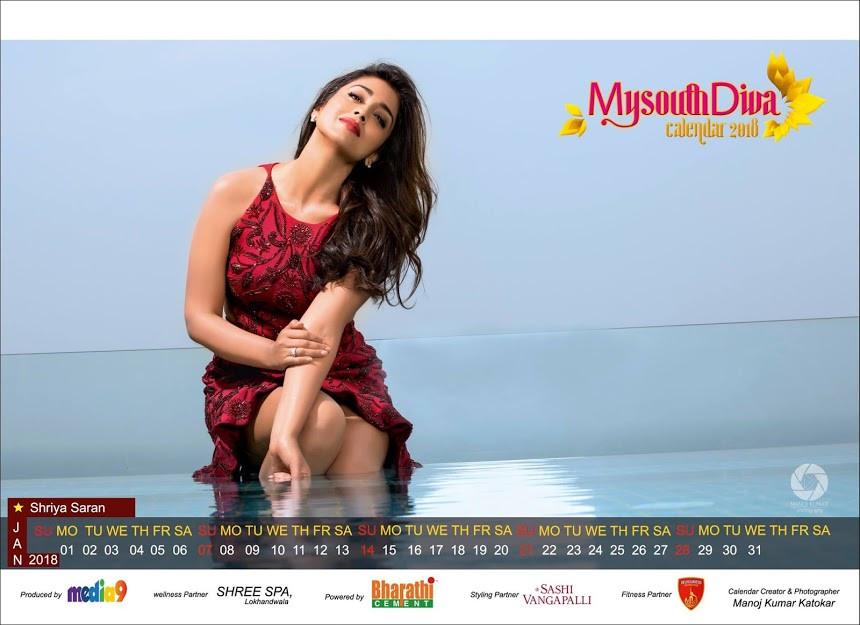 Shriya Saran - My South Diva Calendar 2018 Photos - Sexy Actress Pictures | Hot Actress Pictures - ActressSnaps.com
