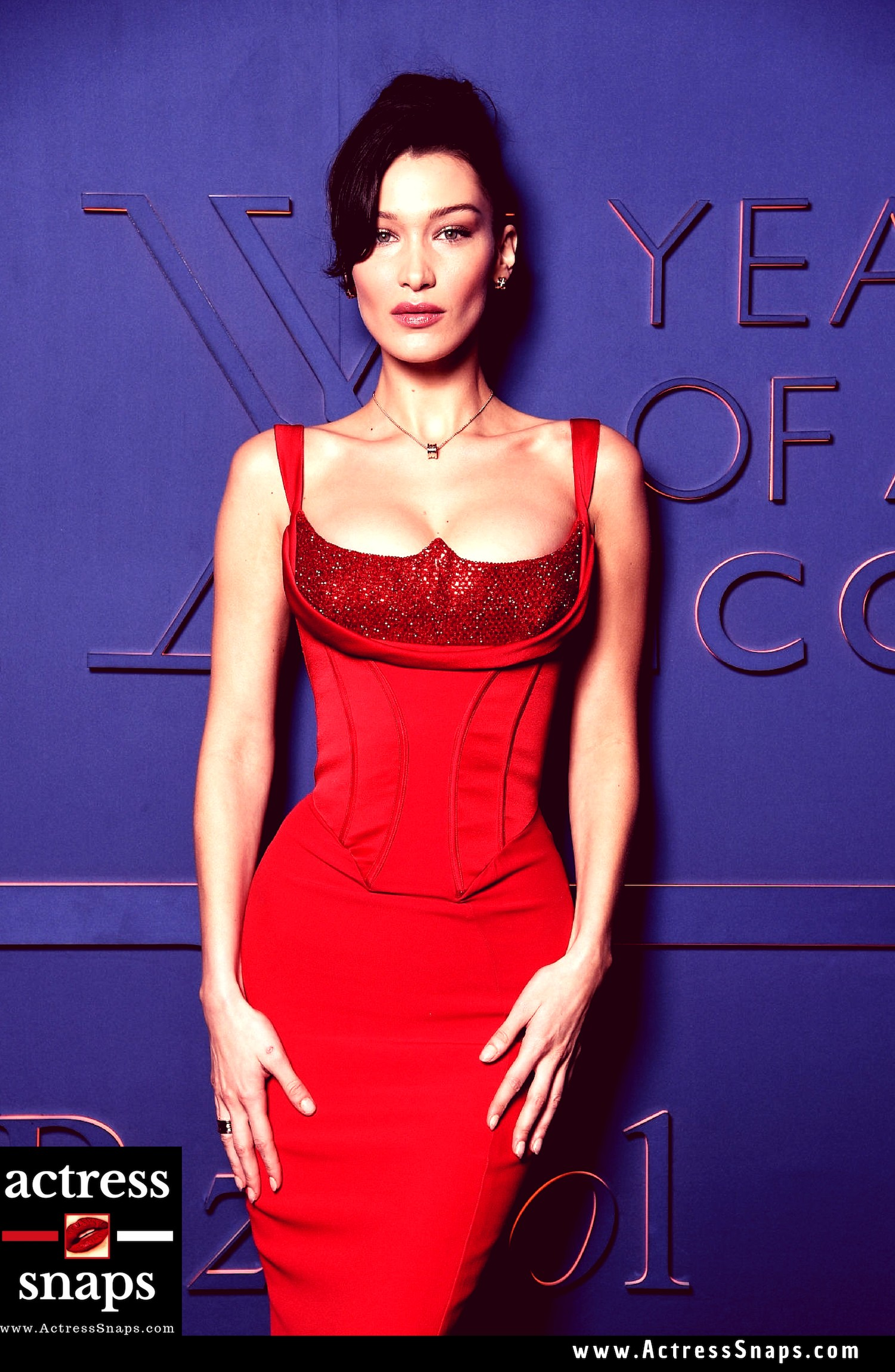 Sexy Bella Hadid in Red Gown at BVLGARI Event - Sexy Actress Pictures | Hot Actress Pictures - ActressSnaps.com