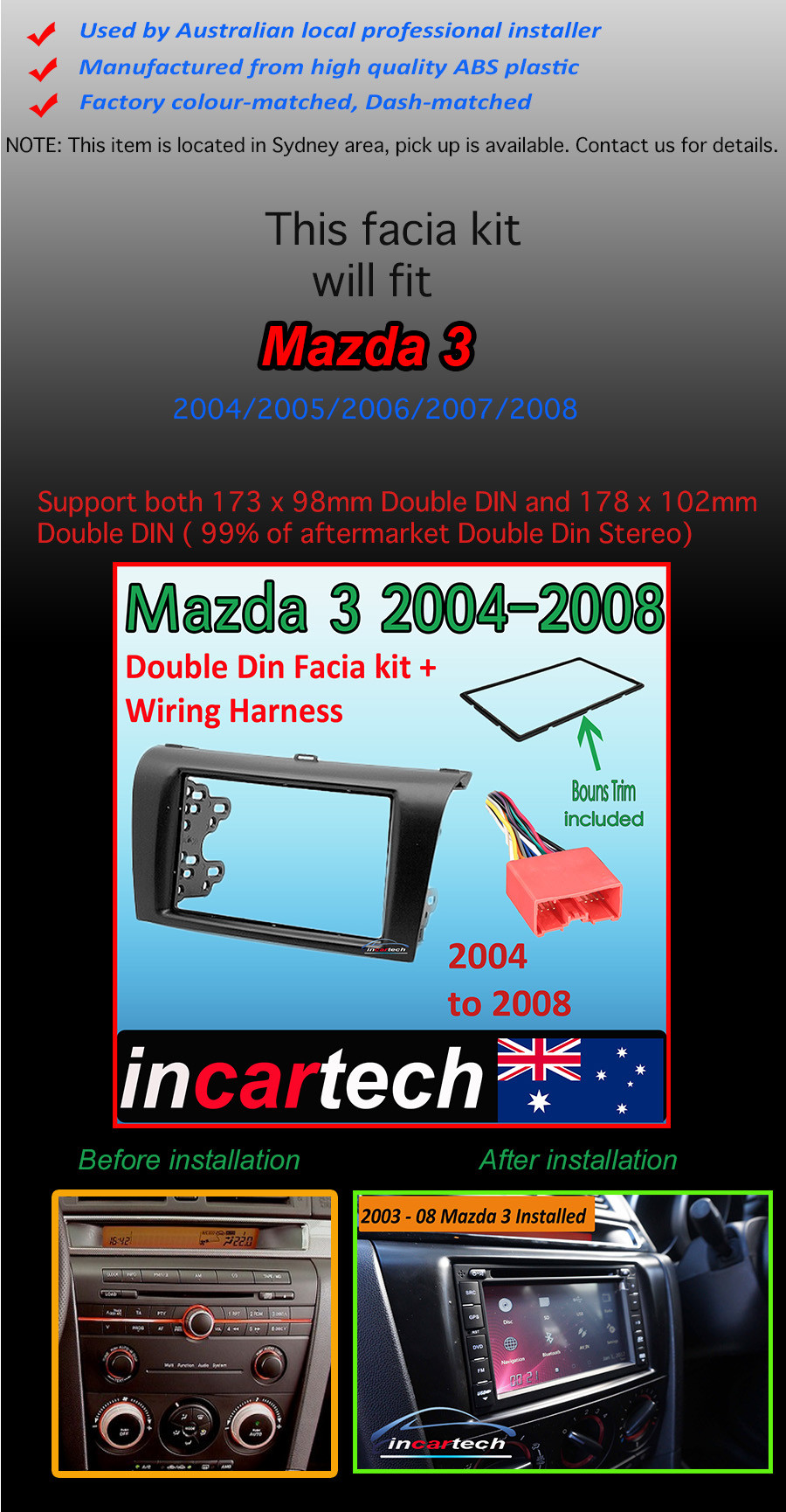 Mazda 3 Bk 2004 09 Facia Kit Fascia Panel Dash Trim Double Din Wiring Harness Categories