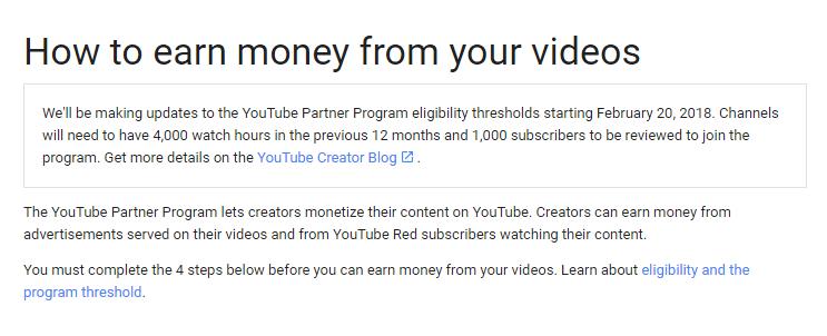 New Rules Of Youtube Monetize starting February 20, 2018 | BlackHatWorld