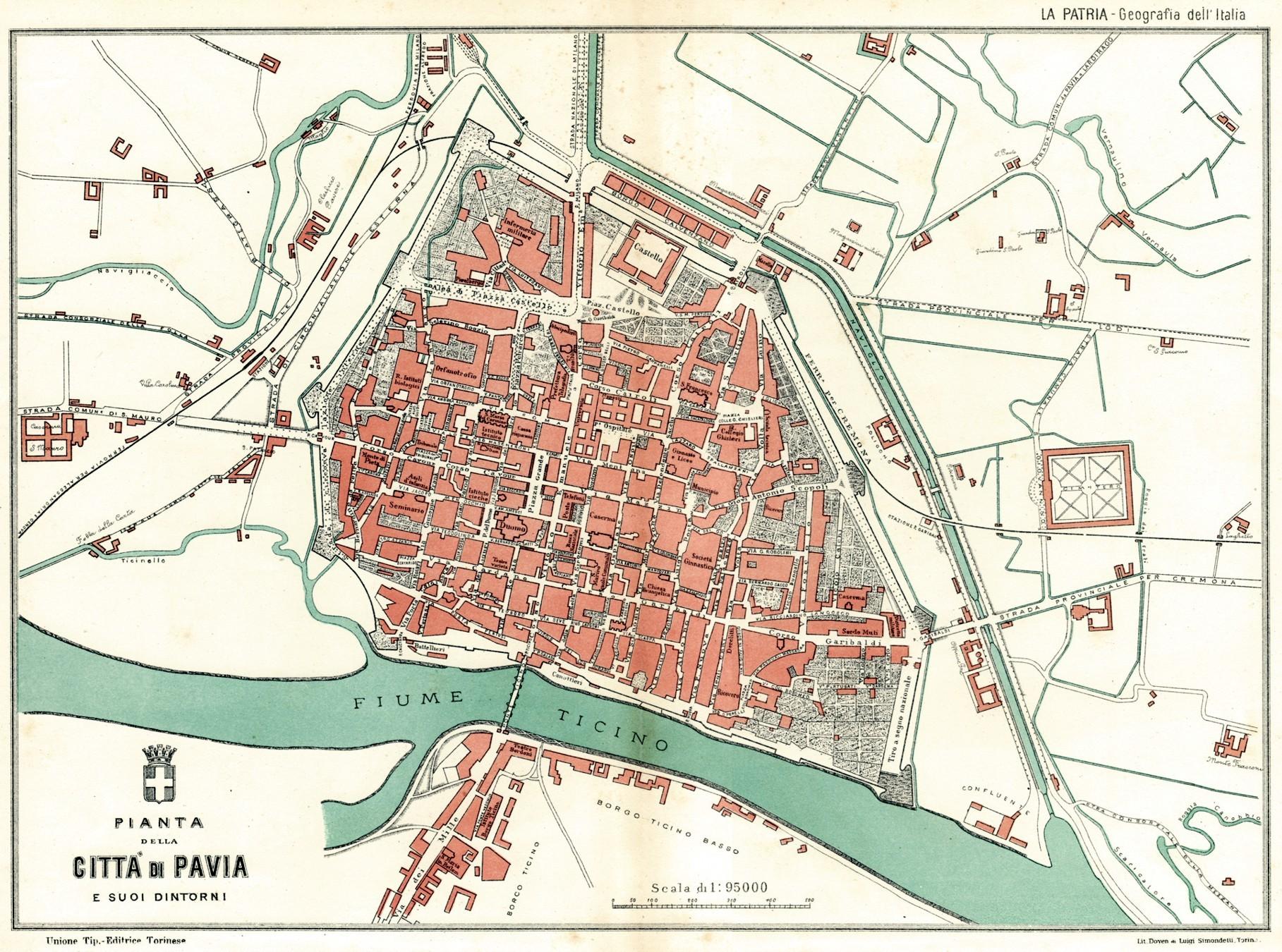 Cartina Lombardia Pavia.Pianta Di Pavia E Dintorni Grande Carta Topografica Mappa Passepartout 1896 Ebay