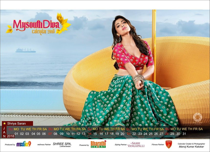 Shriya Saran - My South Diva Calendar 2018 Photos - Sexy Actress Pictures | Hot Actress Pictures - ActressSnaps.com