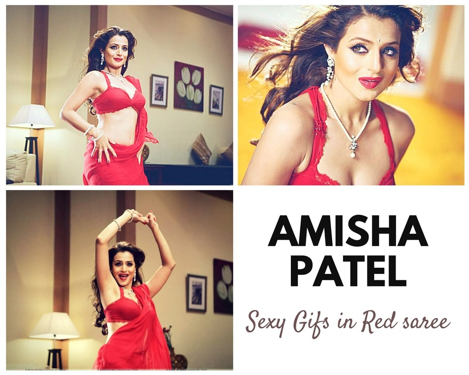 Sexy Amisha Patel GIFs in Red Saree - Sexy Actress Pictures | Hot Actress Pictures - ActressSnaps.com