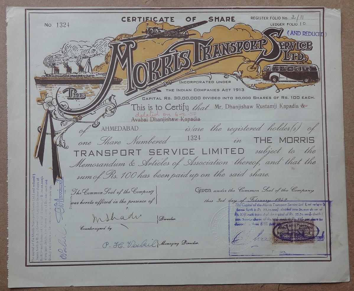 India The Morris Transport Service Ltd  1942 share