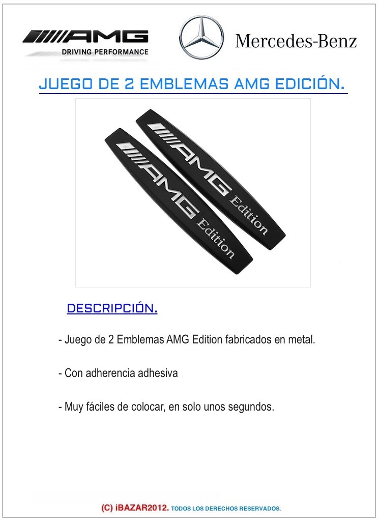 EMBLEMA LOGO INSIGNIA AMG EDITION DE METAL NEGRO